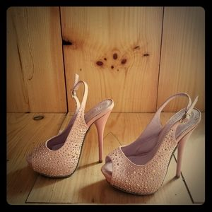 Liliana light pink high heel shoes open toe